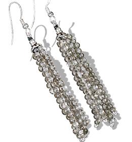 Design 11847: brown smoky quartz multistrand earrings