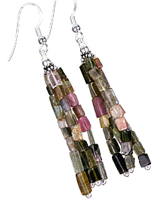 Design 11849: green,pink tourmaline multistrand earrings