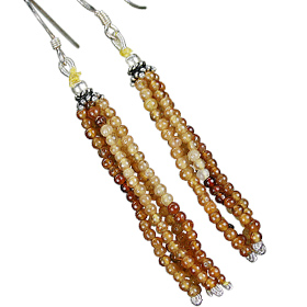 Design 11851: brown hessonite multistrand earrings