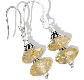 Design 11917: yellow citrine ethnic earrings