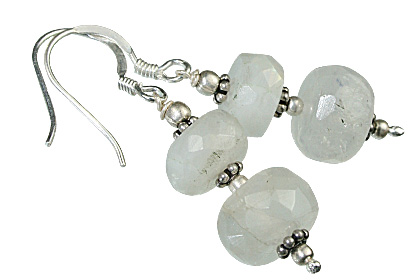 Design 11918: White moonstone ethnic earrings
