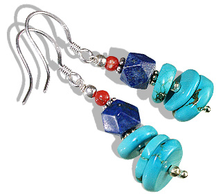 Design 11921: blue,orange turquoise ethnic earrings