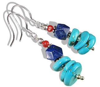 Design 11921: blue,orange turquoise ethnic earrings
