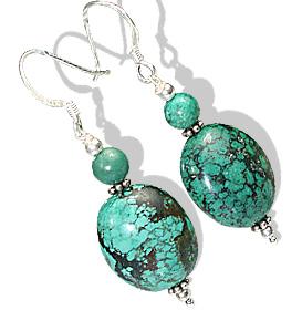 Design 11924: green turquoise drop earrings