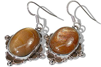 Design 11943: brown sunstone american-southwest earrings
