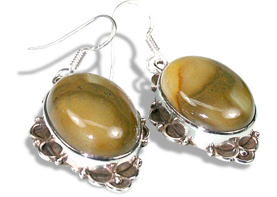 Design 11955: brown agate american-southwest earrings
