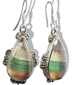 Design 11968: green,yellow fluorite american-southwest earrings
