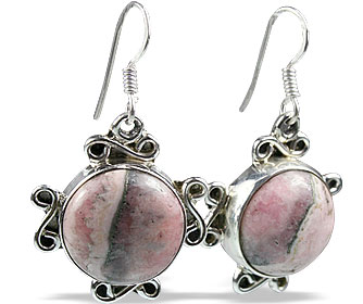 Design 11976: pink rhodocrosite american-southwest, ethnic earrings