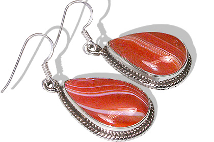 Design 11988: red,white onyx american-southwest earrings