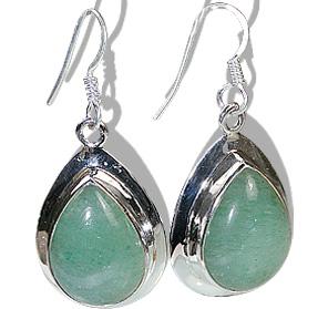 Design 12025: green aventurine american-southwest, drop earrings