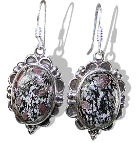 Design 12034: black,gray,pink zosite american-southwest, ethnic earrings