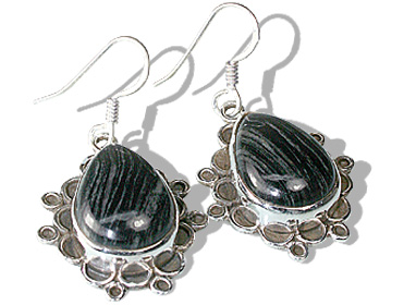 Design 12043: black,gray jasper american-southwest earrings