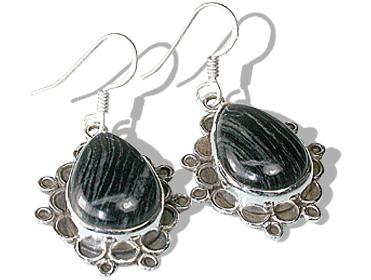 Design 12043: black,gray jasper american-southwest earrings