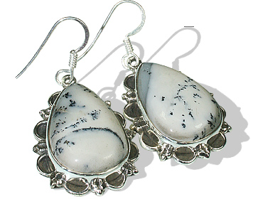 Design 12074: black,white dendrite opal american-southwest, ethnic earrings