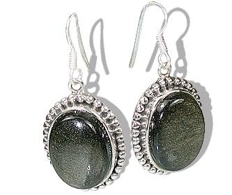 Design 12103: brown,gray obsidian american-southwest, ethnic earrings