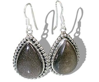 Design 12106: brown,gray obsidian ethnic, american-southwest earrings