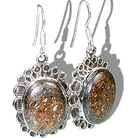 Design 12123: brown bronzite american-southwest, ethnic earrings