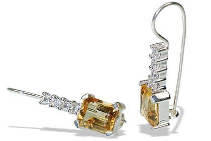 Design 12161: white,yellow citrine art-deco earrings
