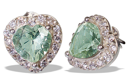 Design 12162: green,white green amethyst brides-maids earrings