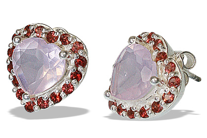 Design 12163: pink,red rose quartz brides-maids earrings