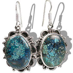 Design 12166: blue,brown chrysocolla american-southwest, ethnic earrings