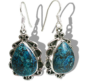 Design 12171: black,blue chrysocolla american-southwest, ethnic earrings