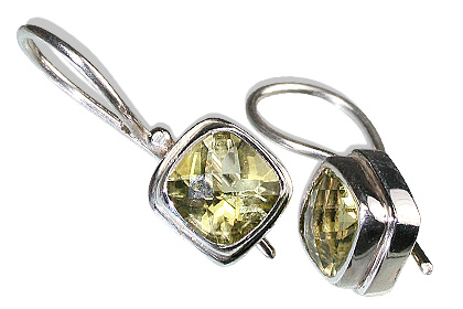Design 12175: yellow lemon quartz estate earrings