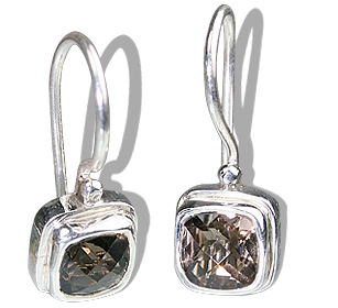 Design 12177: brown smoky quartz classic, estate earrings