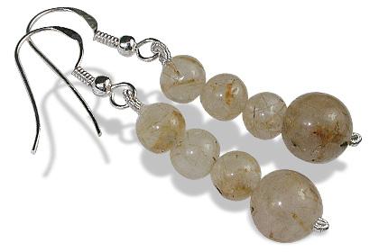 Design 12184: white rutilated quartz earrings