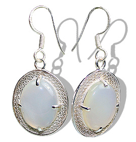 Design 12187: gray,white chalcedony earrings