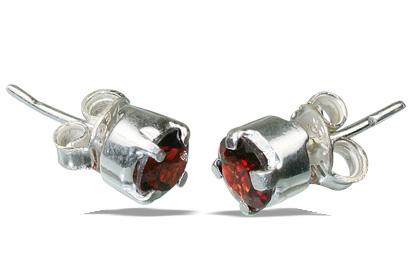 Design 12244: red garnet post earrings