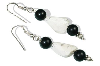 Design 12379: black,white howlite earrings