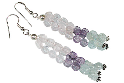 Design 12384: blue,pink,purple multi-stone multistrand earrings