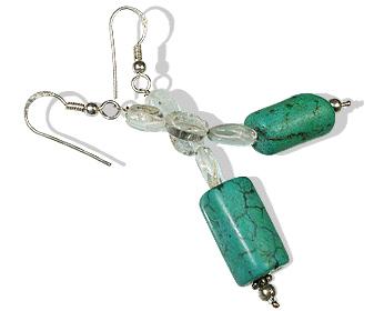 Design 12389: green,white turquoise earrings