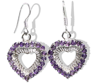 Design 12395: purple amethyst heart earrings