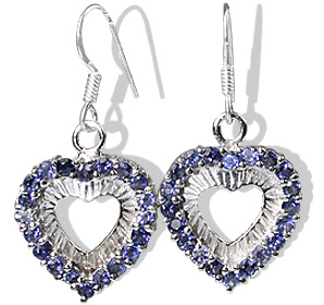 Design 12396: blue iolite heart earrings