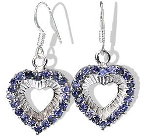 Design 12396: blue iolite heart earrings