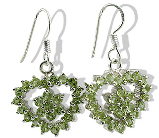 Design 12407: green peridot flower, heart earrings