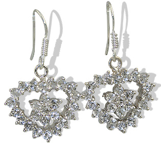 Design 12408: white white topaz engagement, heart earrings