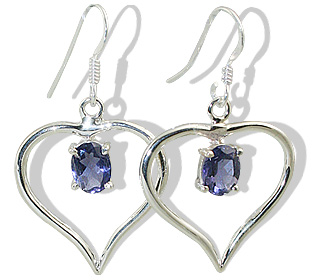 Design 12417: blue iolite heart earrings
