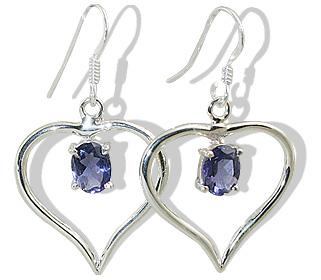Design 12417: blue iolite heart earrings