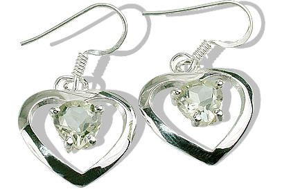 Design 12421: green green amethyst heart earrings