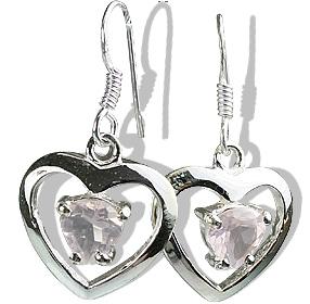 Design 12423: pink rose quartz heart earrings