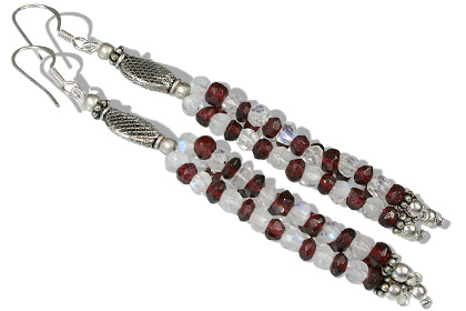 Design 12613: red,white moonstone multistrand earrings