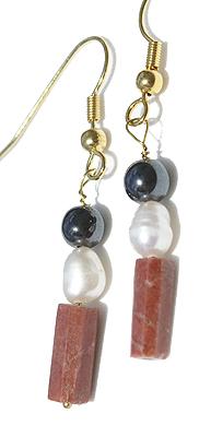 Design 12624: black,brown,white sunstone earrings