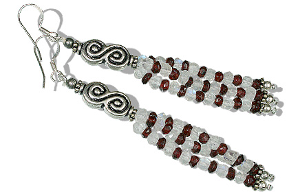 Design 12651: red,white multi-stone multistrand earrings