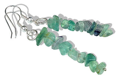 Design 12747: green fluorite chipped earrings
