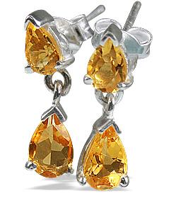Design 12797: yellow citrine post earrings
