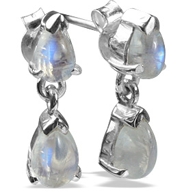Design 12801: white moonstone post earrings
