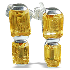 Design 12814: yellow citrine contemporary, post earrings